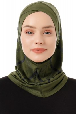 Ekose Cross - Khaki One-Piece Al Amira Hijab