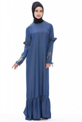 Tahiya Denim Modest Klänning Med Blommor Neways 280394a