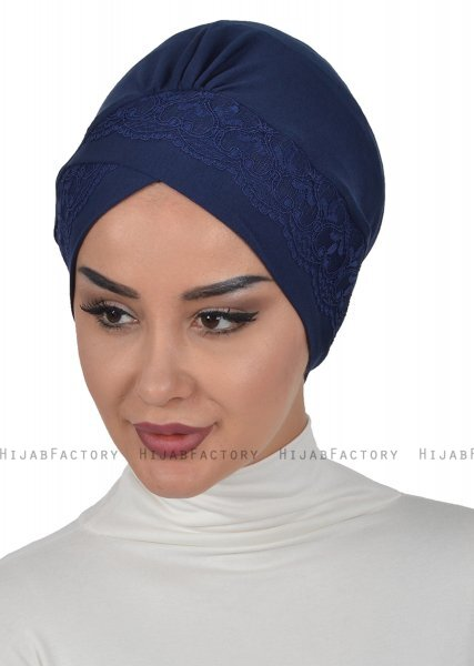 Molly - Marine Blå Lace Bomuld Turban