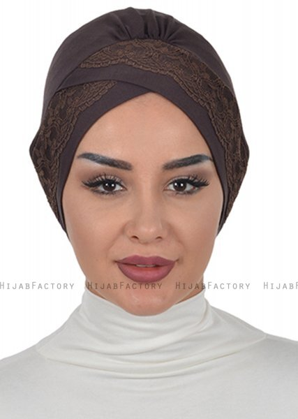 Molly - Brun Lace Bomuld Turban