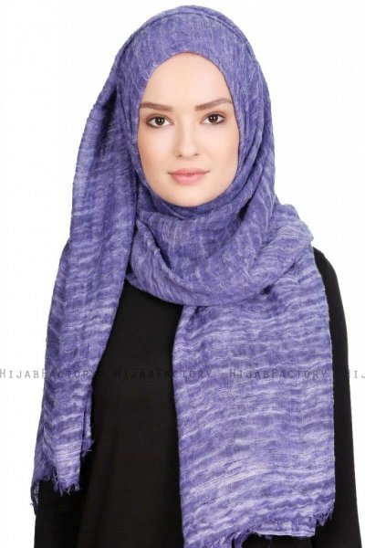 Didem Lila Crinkle Bomull Hijab Sjal 400110a