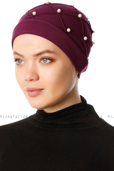 Yaren - Blomme Crepe Chiffon Turban - Sehr-i Sal